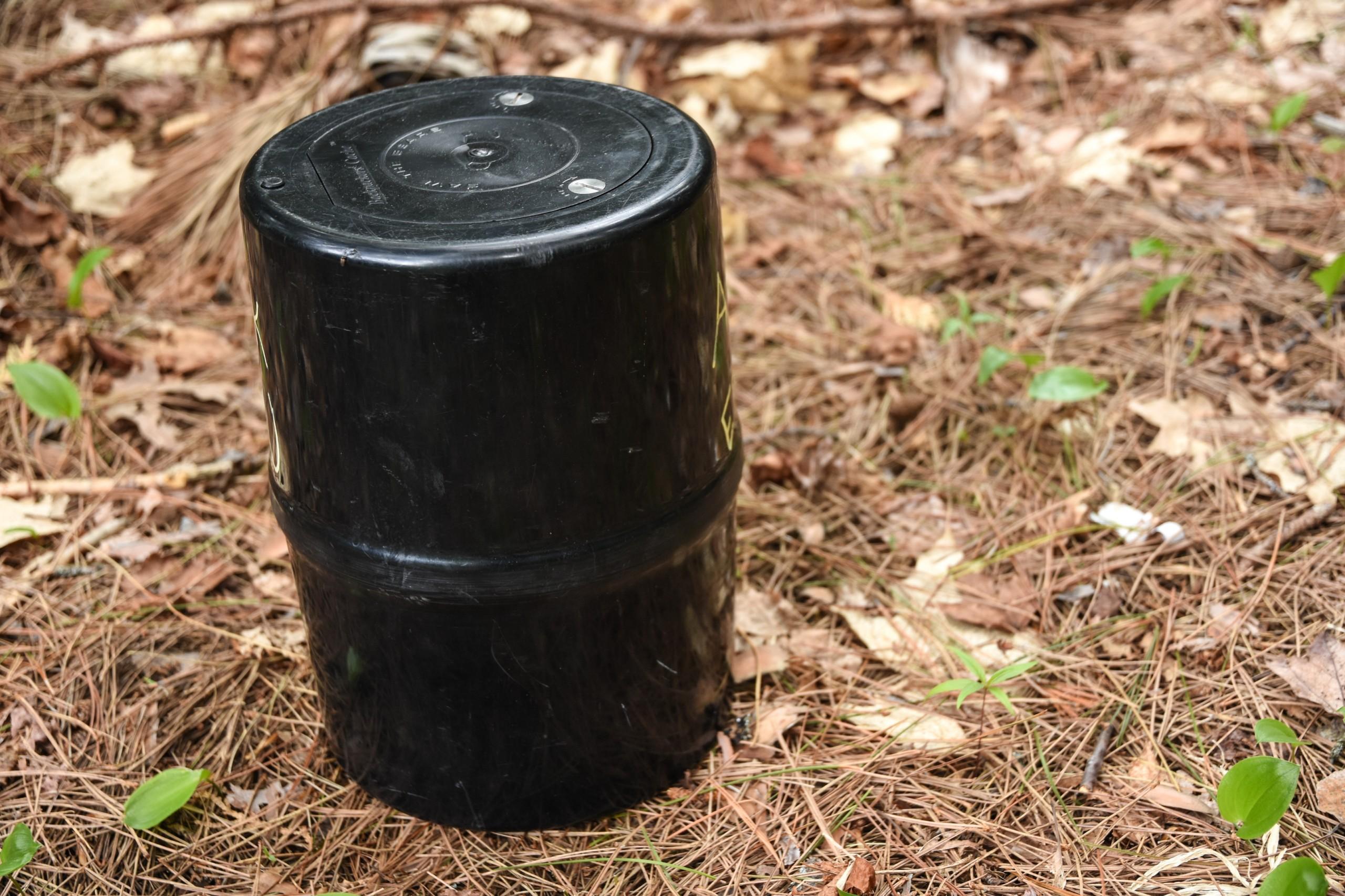 A black bear canister