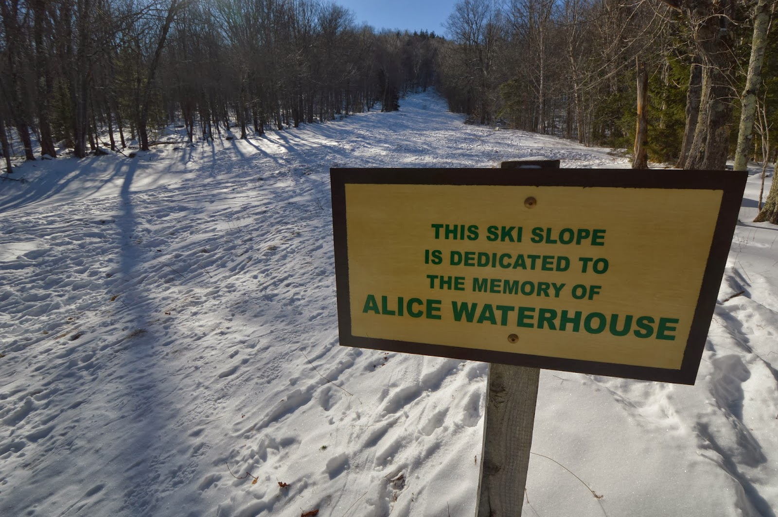 The memorial sign on the ski slope