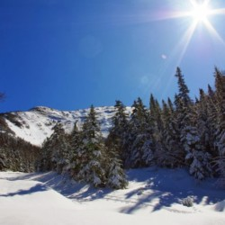 Looking up a snowfield at Gothics