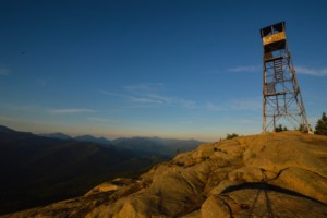 The summit of Hurricane Mountain with the fire tower visible
