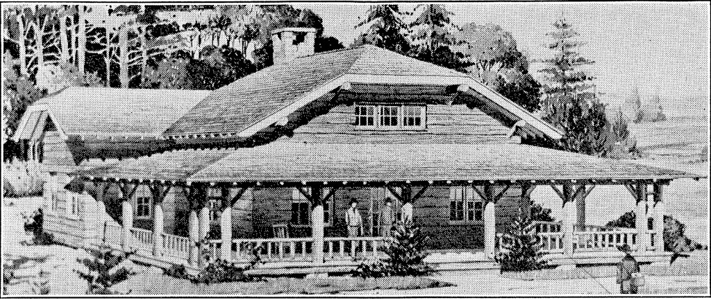Architect's rendition of Johns Brook Lodge before it was built