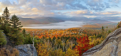 Fall colors panorama from a mountain summit