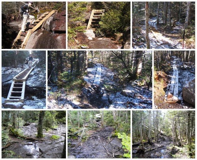 A collage of trail work projects