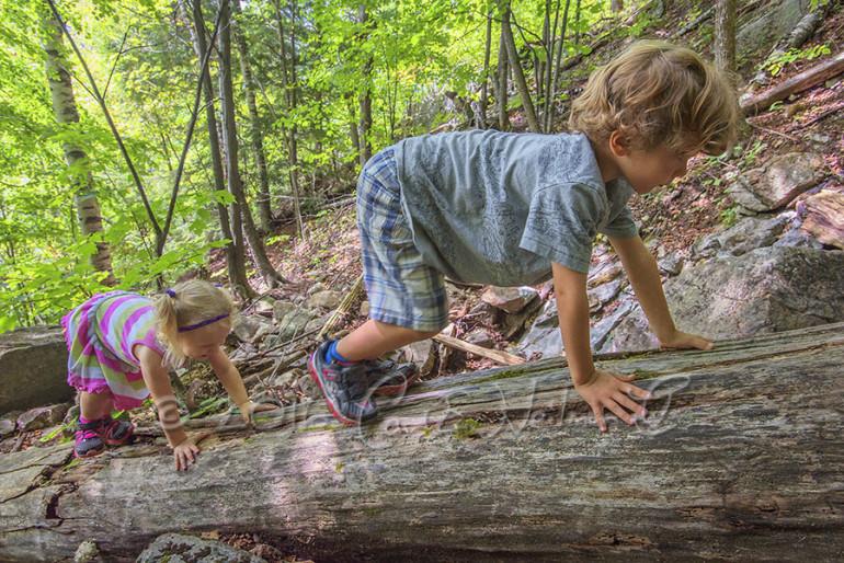 Two kids climb on a log