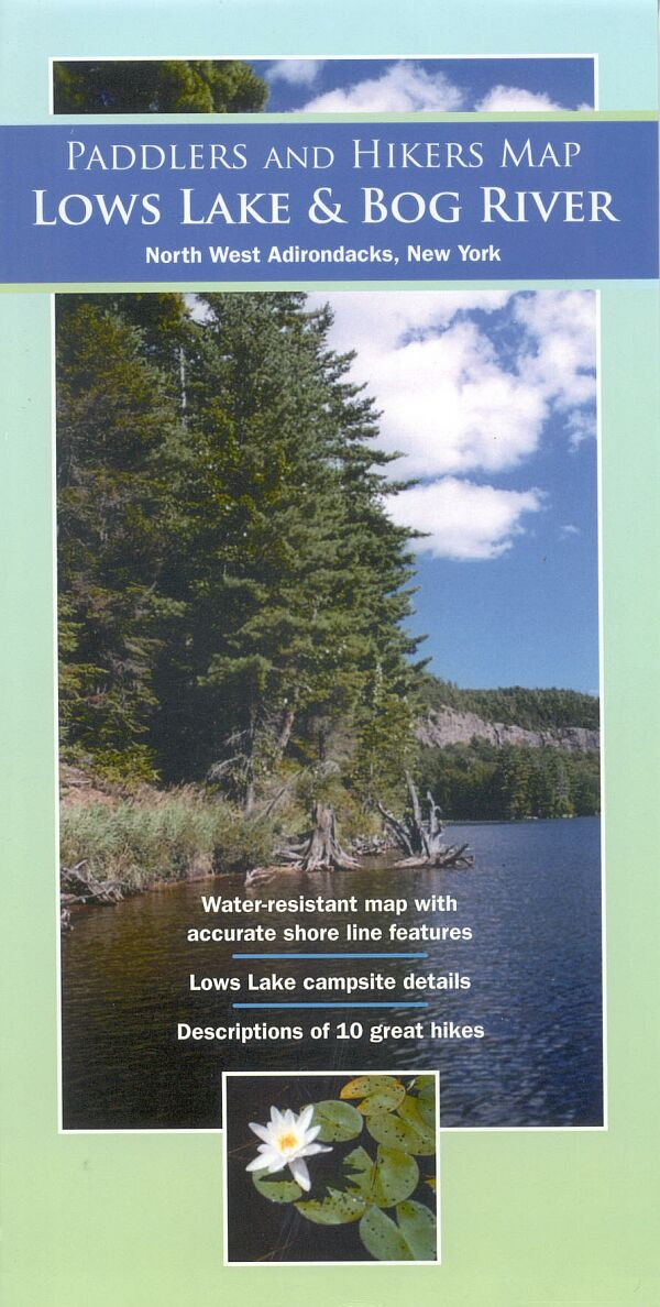 Lows Lake and Bog River paddlers and hikers map