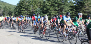 A large group of bikers at the start of the ididaride! bike race