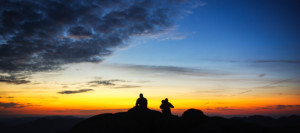 Silhouette view of hikers on Algonquin