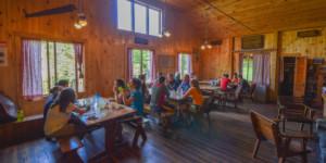 Guests eating at Johns Brook Lodge