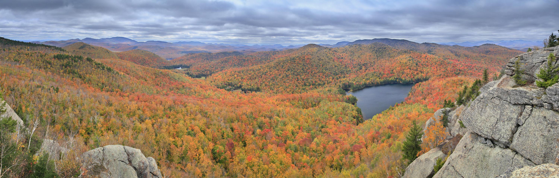 Peaked Mt Pond fall panorama