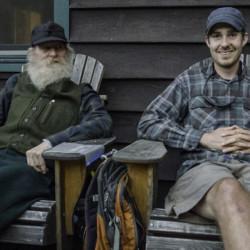 Seth and older hiker on JBL porch