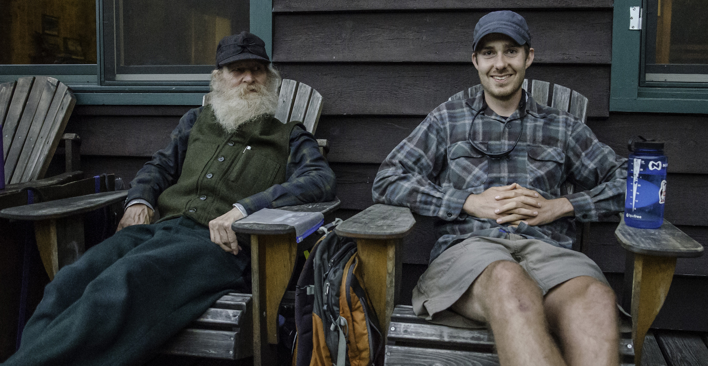Seth and older hiker on JBL porch