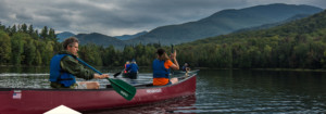Paddlers canoeing