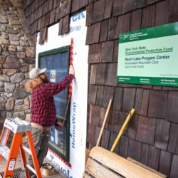 Installing new windows at High Peaks Information Center