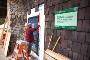 Installing new windows at High Peaks Information Center
