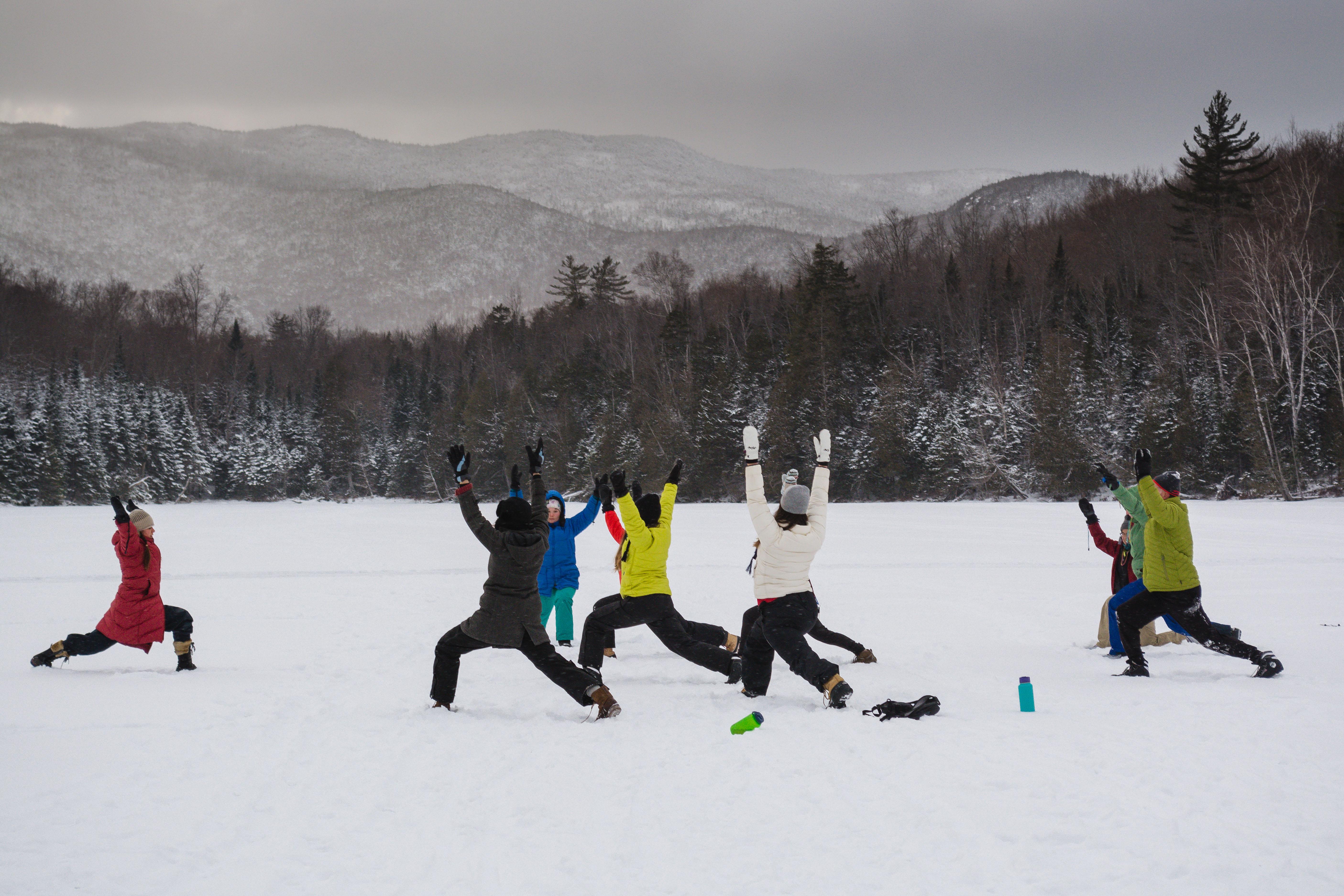 Snow Yoga.  Photo by Stephanie Graudons