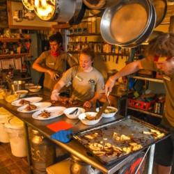 JBL kitchen crew preparing dinner