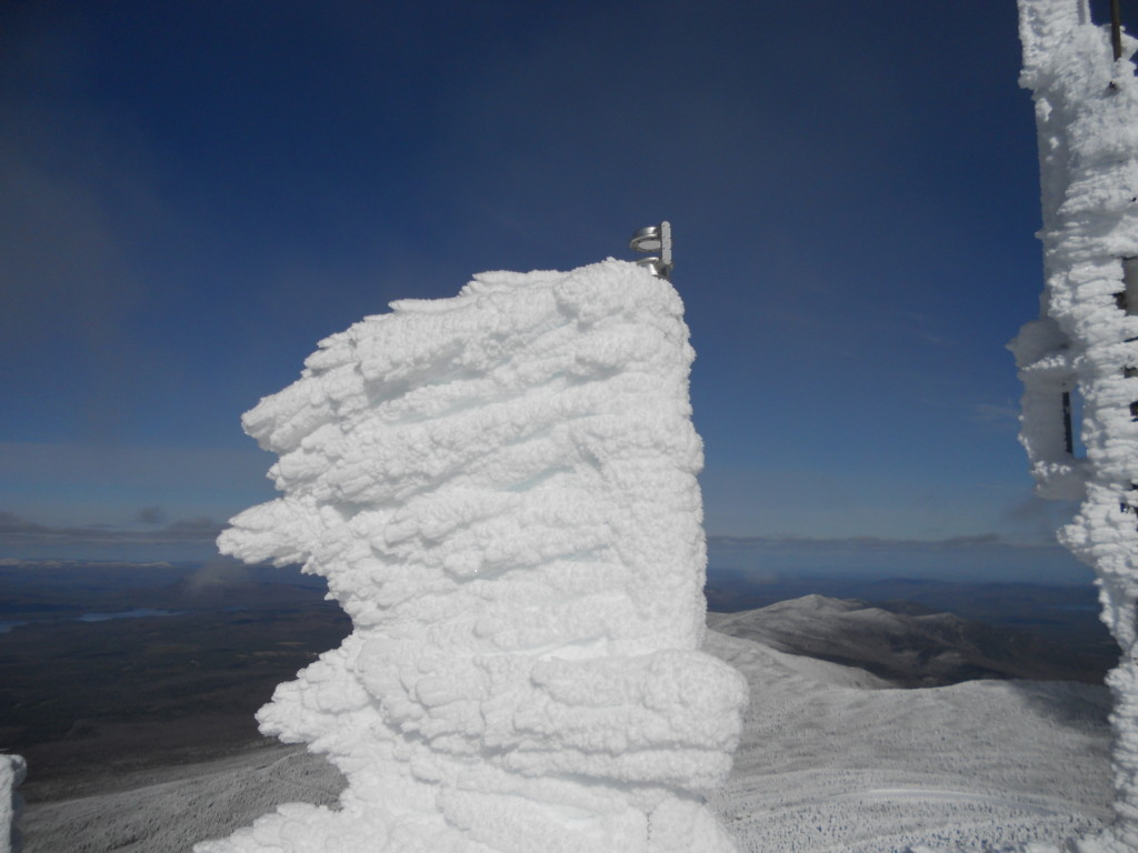 Rime ice accumulating on the anemometer on Whiteface. Photo Credit: Paul Casson at the Atmospheric Science Research Center