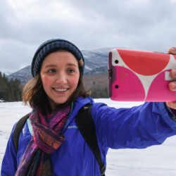 Hiker taking a selfie at Heart Lake