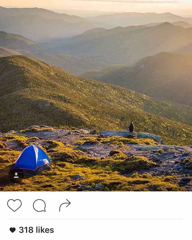 A camper illegally pitching a tent above 4000 feet in the Adirondacks