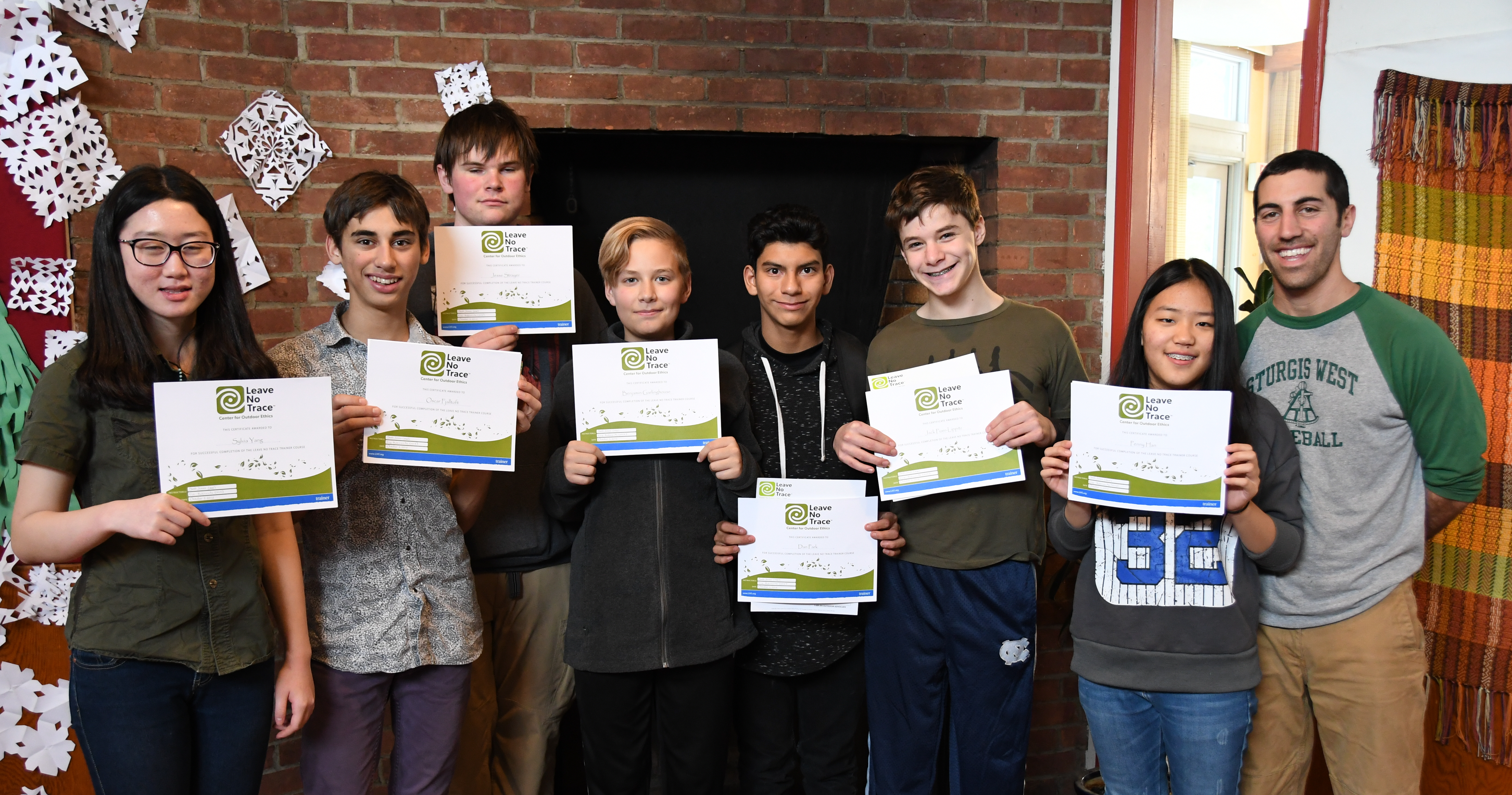 Students with their Leave No Trace certificates
