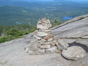 A cairn on the summit of a mountain