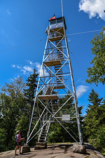A fire tower from below