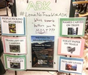 A Leave No Trace interpretive sign board