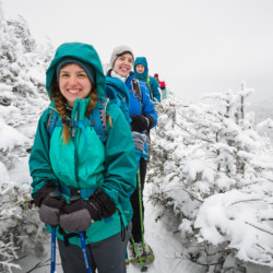 Winter hikers smiling