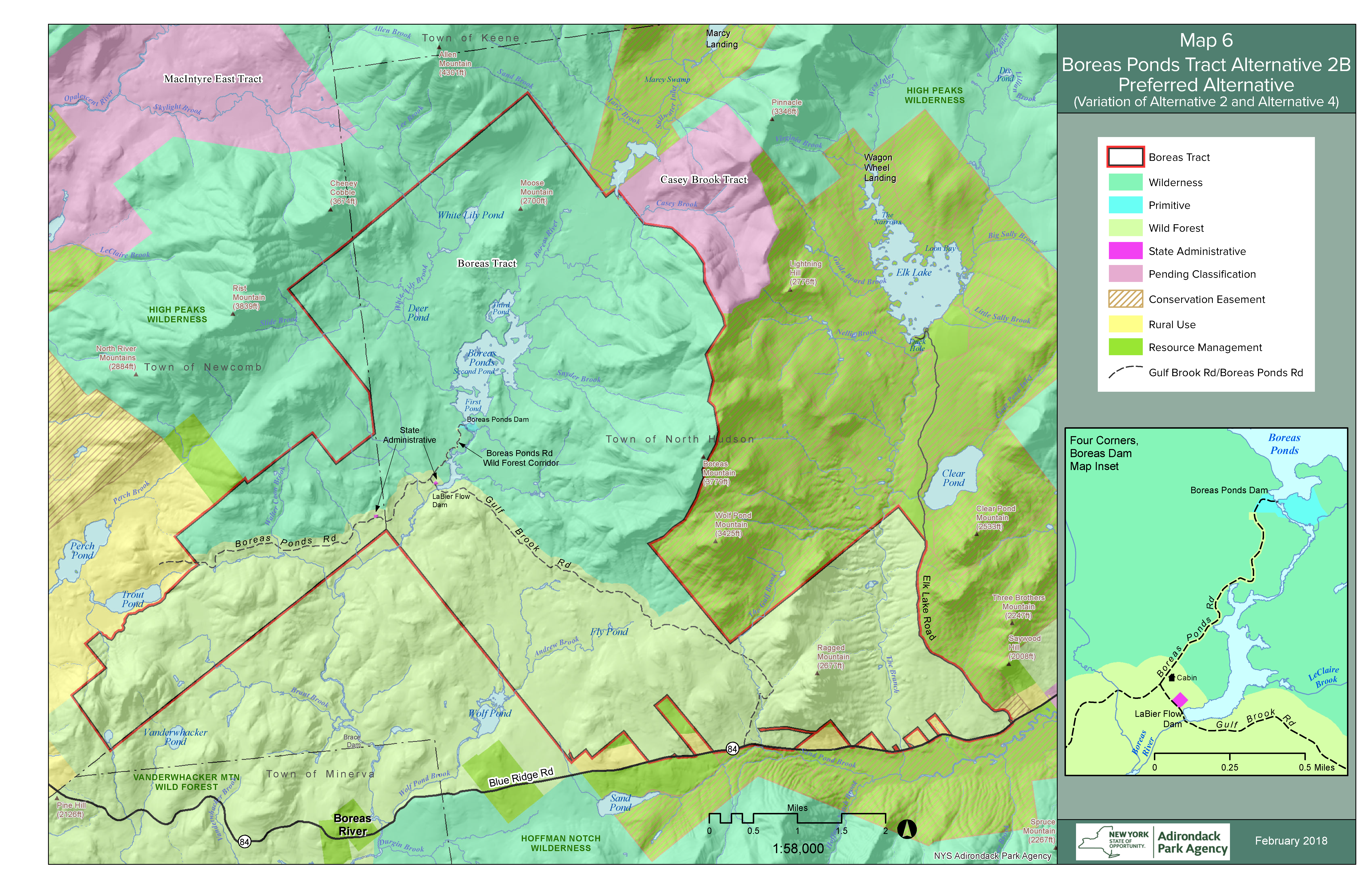 Boreas Ponds region map showing proposed changes