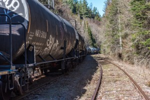 Abandoned oil tanker cars on the Tahawus line in the Adirondacks