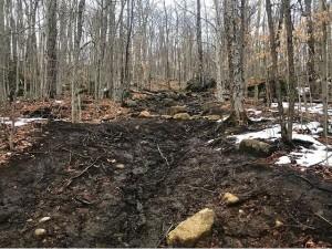 Muddy trail in shoulder season