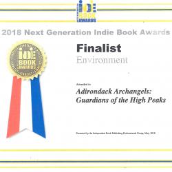 Adirondack Archangels book award certificate