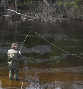 A man fly fishing