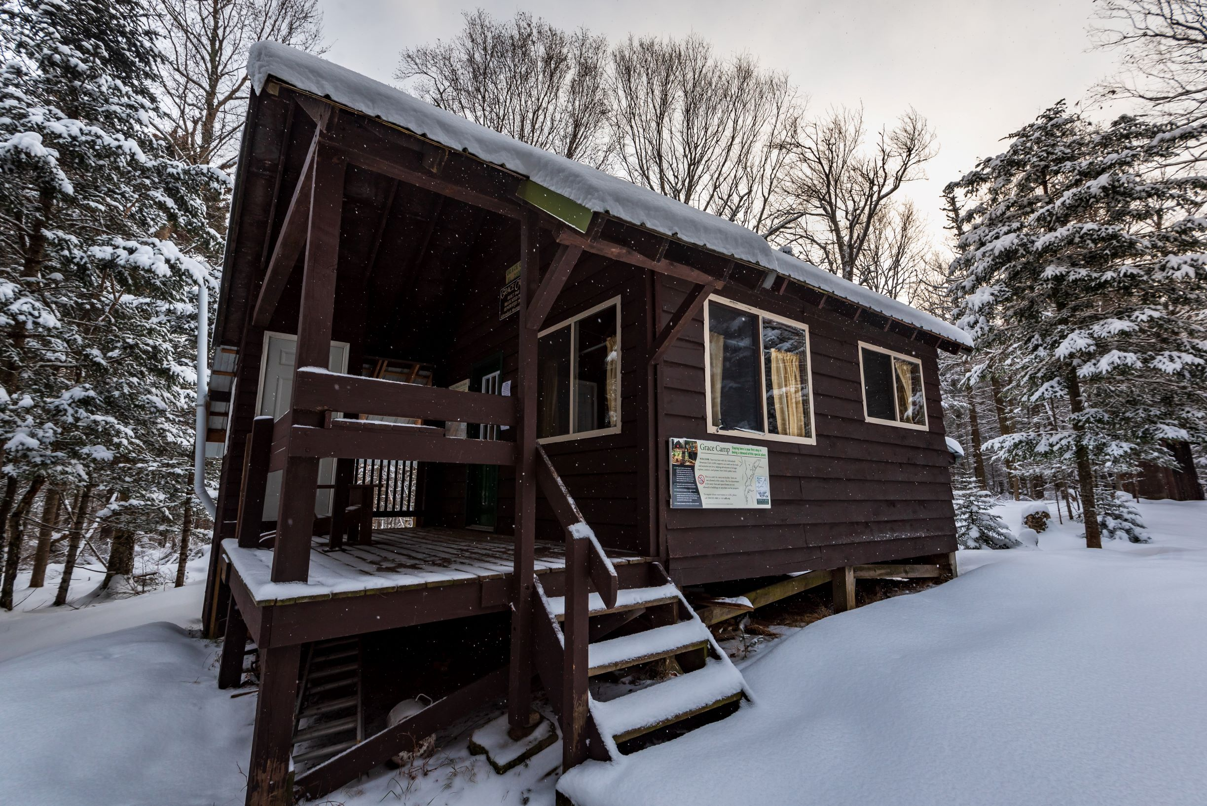 Grace Camp exterior in winter