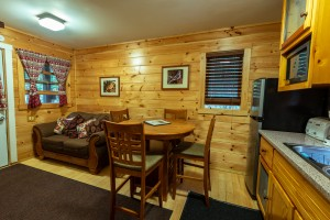 The living room and kitchen of the Campground Cabin