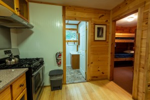 An angle showing the entrances to the Cabin bathroom and bedroom