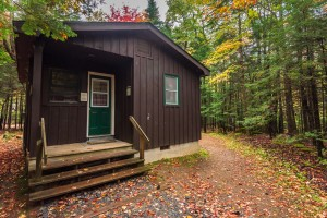 The outside of the Campground Cabin
