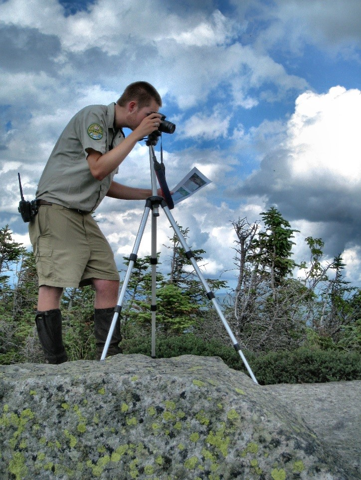 Seth conducting Photopoint Monitoring research as a summit steward.