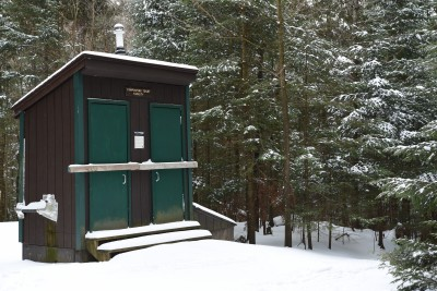 A composting toilet in winter