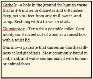 Cathole Thunderbox Giardia definitions