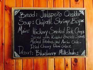 Daily menu on chalkboard
