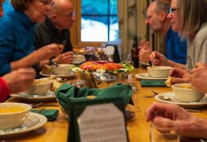 Guests eating dinner at the Adirondak Loj