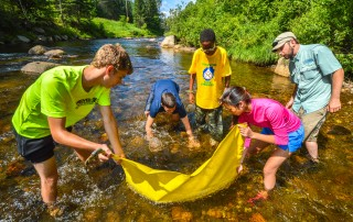 Participants in a teen program studying invertebrates in a river