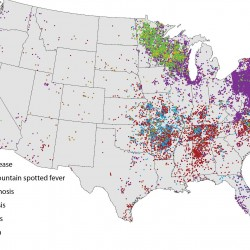 CDC map of tick distribution in the US