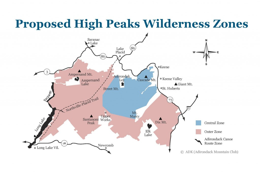 An updated version of the proposed High Peaks Wilderness zoning changes