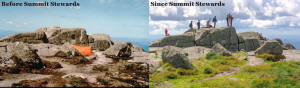 Two photos showing before and after regrowth of alpine vegetation on Marcy