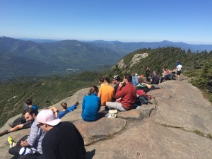 crowd of hikers on a mountaintop