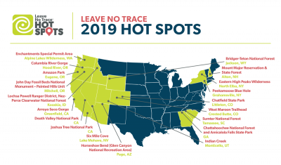 US map of 2019 Leave No Trace Hot Spot locations