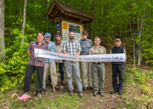 Lost Pond Trail group with opening banner