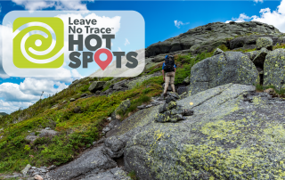 A hiker climbs a steep rock face. The image contains the Leave No Trace Hot Spots logo.